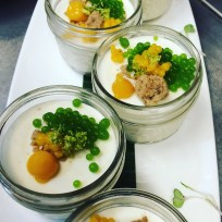 Keralan Tender Coconut Pudding, Mango Puree, Cilantro Pearls, Toasted Almond and Coconut Streusel